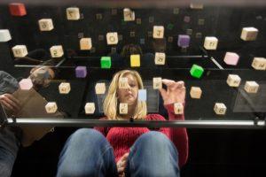student doing Psychology experiment