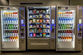 Vending machines filled in different kinds of snacks