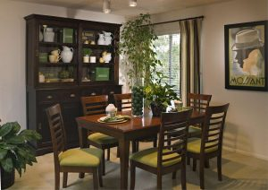 Dining room with yellow chairs in Woodbridge