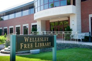 the Wellesley Free Library in front of the library