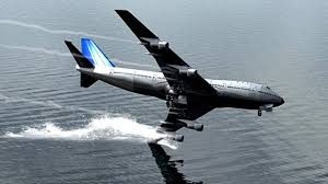 an airplane flying over water