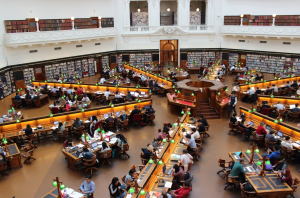 an overview of a library with several study rooms