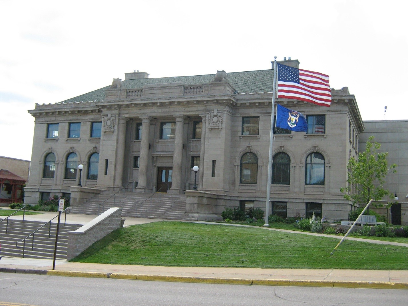 The Front part of Peter White Public Library
