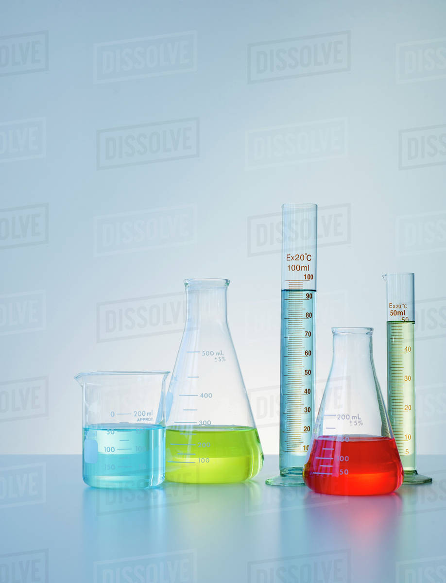 beakers and flask