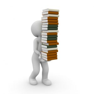 Cartoon clipart carrying many library books