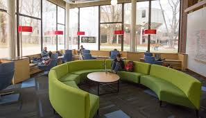 This picture displays the popular lounge area found within the library.