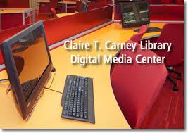 This image is used to advertise for the Digital Media Center at the library.
