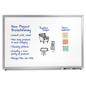dry erase board with brainstorming ideas on it