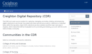 Creighton Digital Repository (CDR) web page