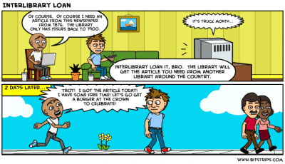 Comic strip about InterLibrary Loan