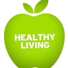 """A green Apple written """"HEALTHY LIVING"""""""