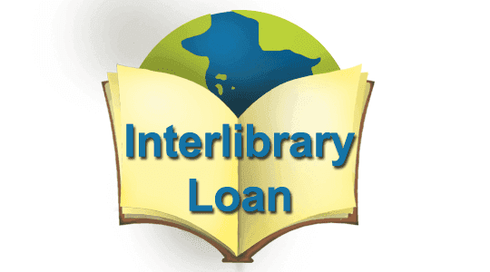 interlibrary loan graphic with open book in front of planet earth