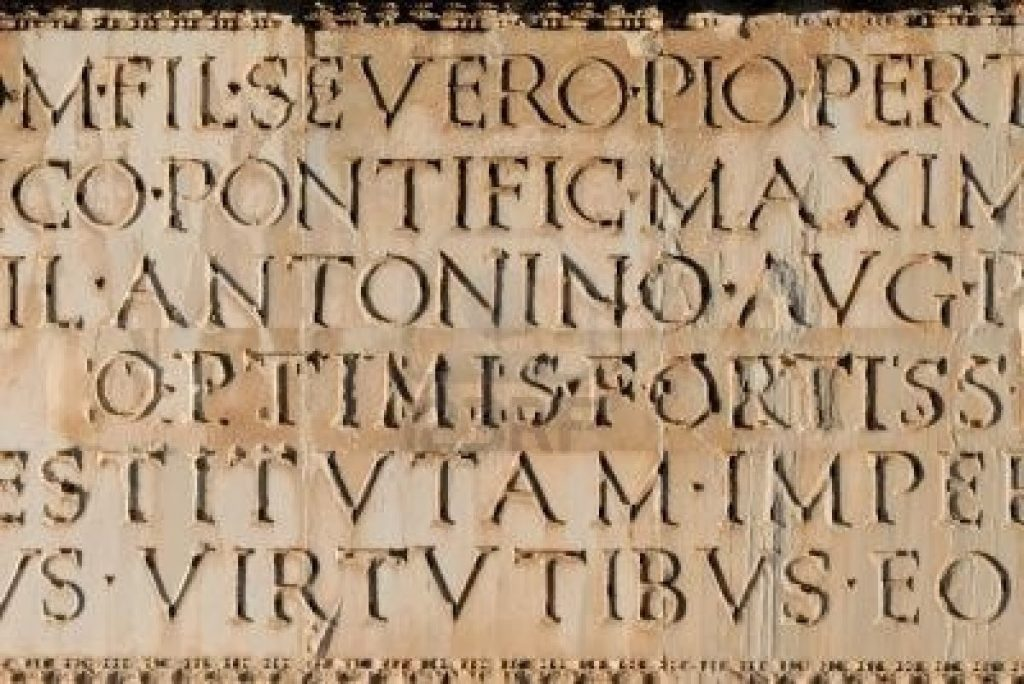 some Latin text on a stone tablet
