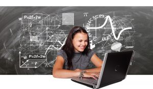 Stock photo of a student studying on a laptop