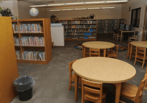 library photo with round tables and chairs