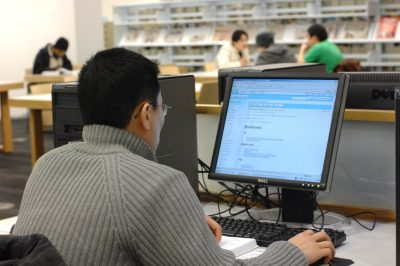 Using the computer at the library