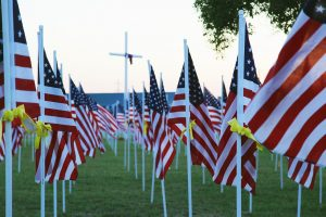Flags honoring veterans