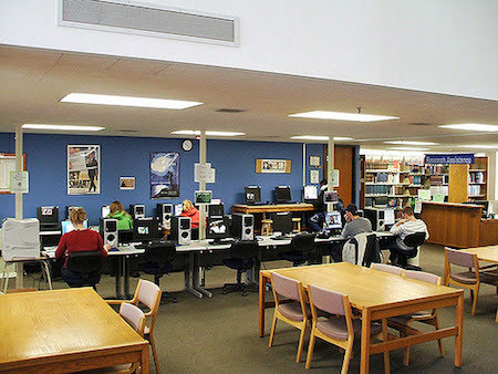 Computers and laptops with internet access are available at the Staley Library.