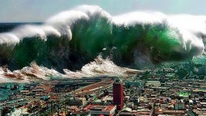 a tsunami, a type of natural disaster