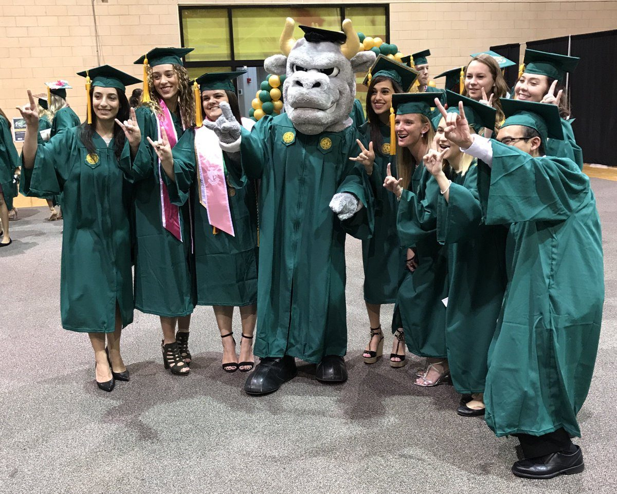 Graduating students posing with University of South Florida