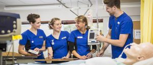 Nursing students in a practical class