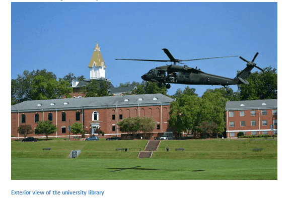 helicopter landing in front of Oconee Campus Library