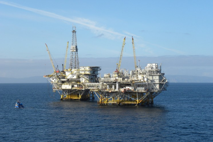 An offshore oil and gas production rig