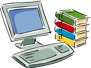 A drawing of a desktop computer and books