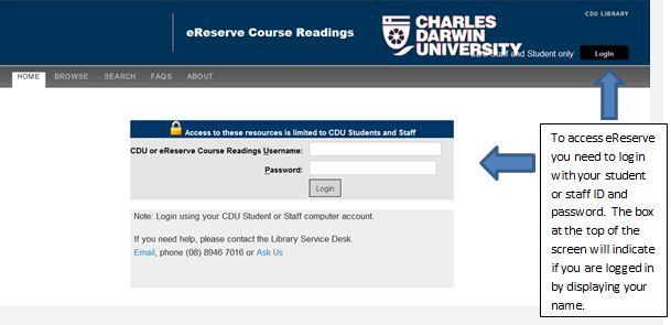 eReadings (eReserve) page screenshot