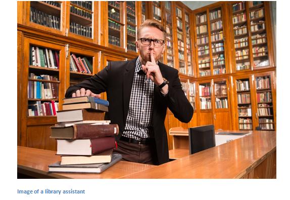 librarian shushing