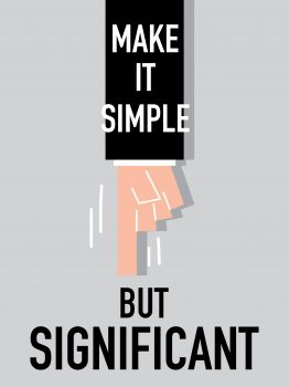"""finger pointing to a text saying """"make it simple but significant"""""""