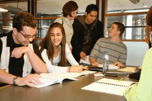 students doing collaboration at a group study room