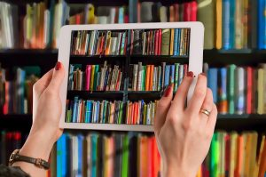 Library books on an iPad