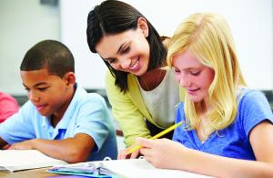 tutor teaching 2 kids
