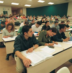 Students taking notes during a Criminology class