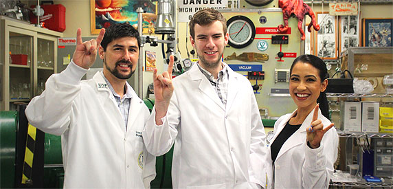 USF students posing in lab.