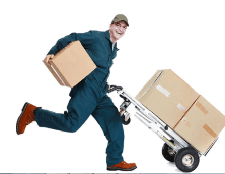 the man is performing courier services