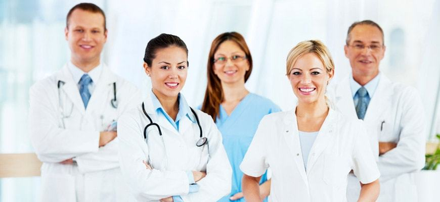 Two male and three female doctors