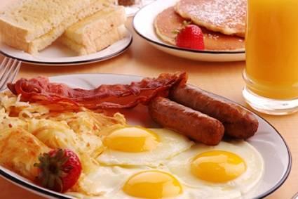 Breakfast serving in a plate