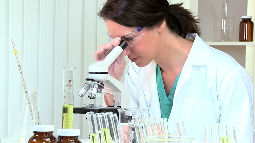 Female Laboratory Assistant Working with Stock Footage Video