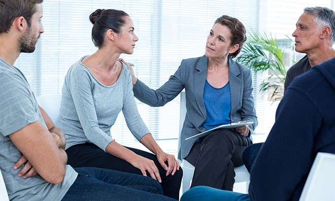 A psychiatrist doing counselling of women