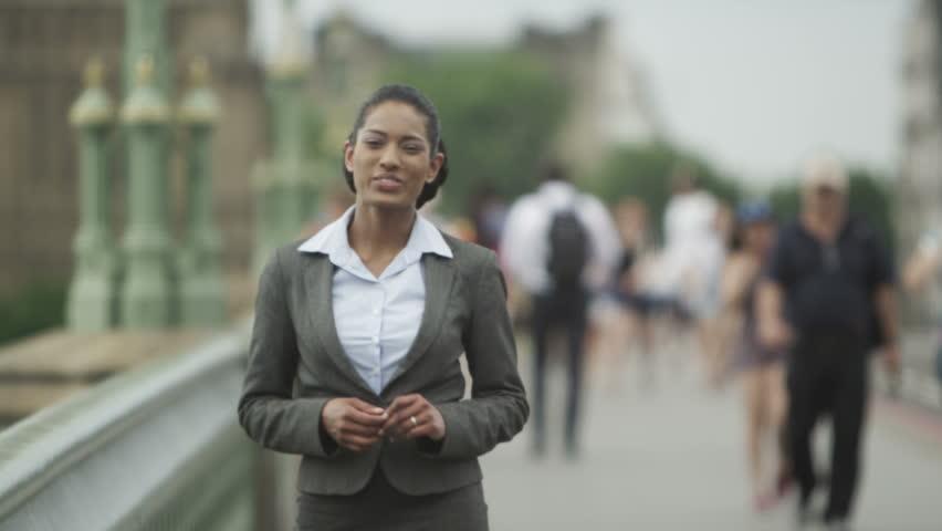 a female city reporter reporting