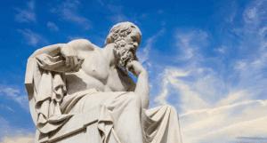 Statue of contemplating Plato