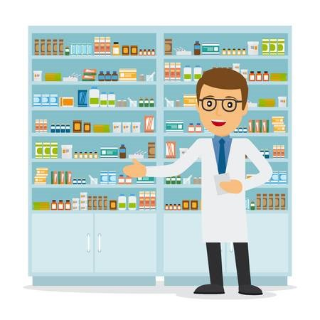 Pharmacist standing with the medicine rack at pharmacy