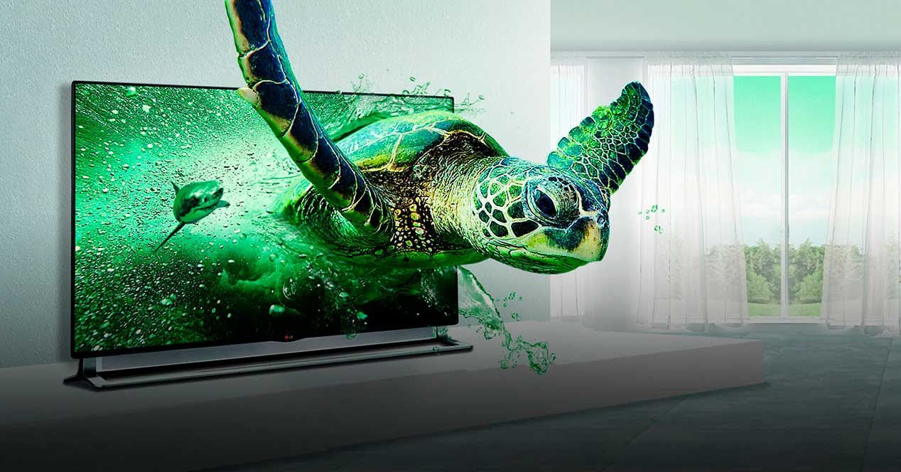 A white living room with a big green turtle and a shark going out of the TV