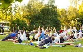 Outdoor yoga class for students