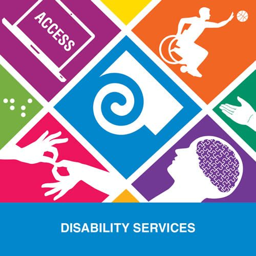 Graphic logo about disability services