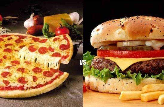 Pizza and burger serving with fries