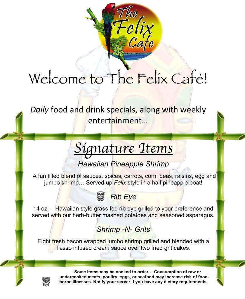 menu of Felix cafe for special entrees