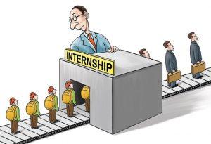 Cartoonish image showing how people groom after internships